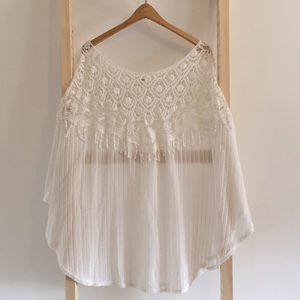 Lace and crocheted shawl